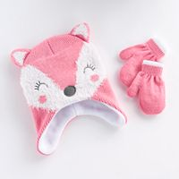 Toddler Girl Fox Knit Hat & Mittens Set