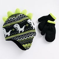 Toddler Boy Dinosaur Knit Hat & Mittens Set