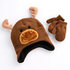 Toddler Boy Knit Moose Hat & Mittens Set