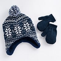 Toddler Boy Knit Fairisle Hat & Mittens Set