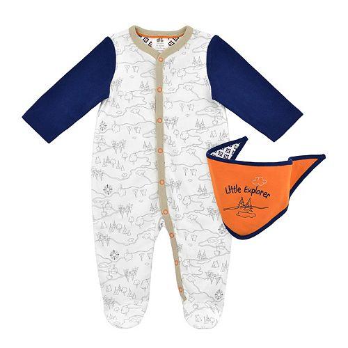"Baby Boy Just Born ""Little Explorer"" Contrasting Sleep & Play & Bib Set"