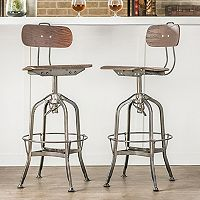 Baxton Studio Justin Industrial Counter Stool 2-piece Set
