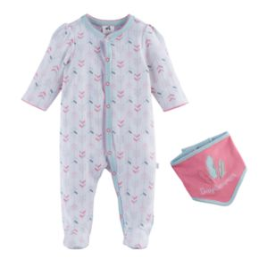 "Baby Girl Just Born ""Daydreamer"" Geometric Sleep & Play & Bib Set"