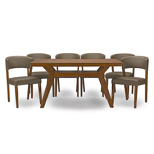 Baxton Studio Montreal Mid-Century Dining Table & Chair 7-piece Set