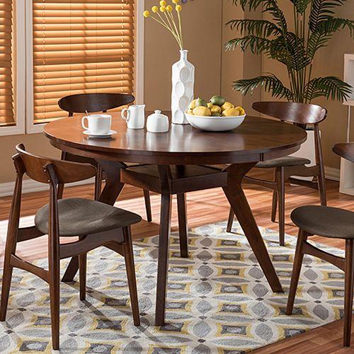 Baxton Studio Flamingo Mid-Century Dining Table & Chair 5 ...