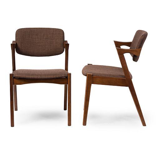 Baxton Studio Elegant Mid-Century Dining Chair 2-piece Set