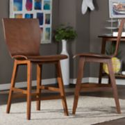 Baxton Studio Elsa Mid-Century Counter Stool 2-piece Set