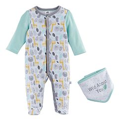 Baby Just Born 'Wild About You' Animals Sleep & Play & Bib Set