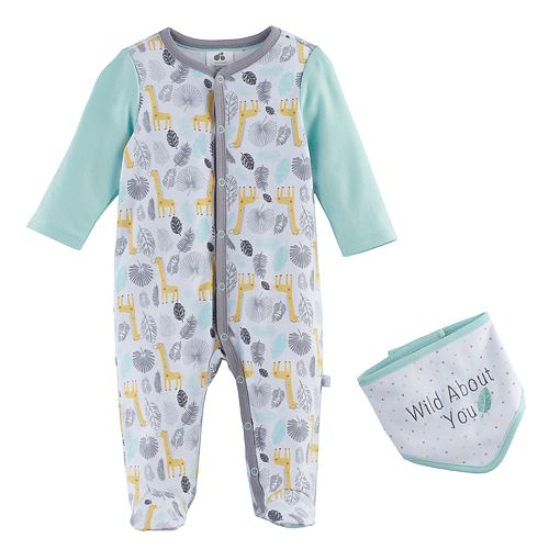"Baby Just Born ""Wild About You"" Animals Sleep & Play & Bib Set"
