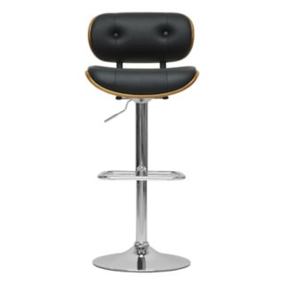 Baxton Studio Leona Adjustable Faux-Leather Swivel Bar Stool