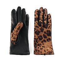 Women's Apt. 9® Leopard Print Leather Tech Gloves