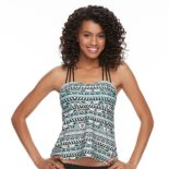 Open Back Printed Tankini Top