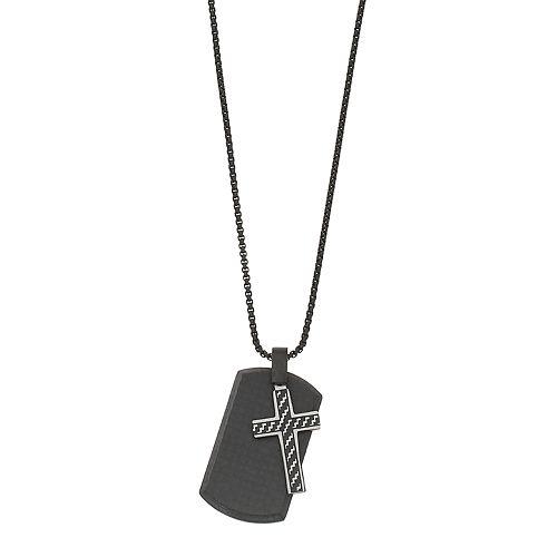 LYNX Men's Stainless Steel & Carbon Fiber Dog Tag & Cross Pendant