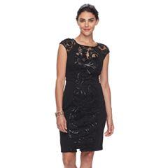 Petite Chaya Lace Floral Scroll Evening Dress