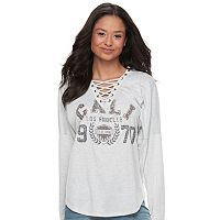 Juniors' About A Girl Lace-Up Graphic Tee