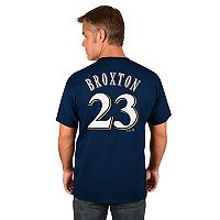 Men's Majestic Milwaukee Brewers Keon Broxton Name and Number Tee