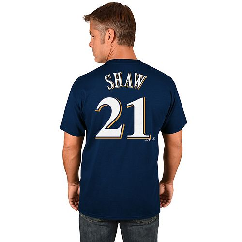 Men's Majestic Milwaukee Brewers Travis Shaw Name and Number Tee