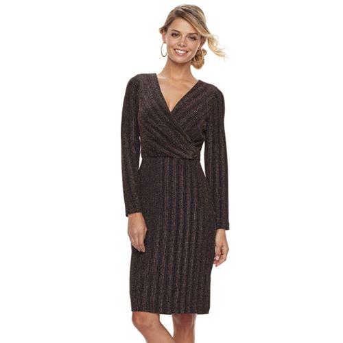 Petite Chaya Striped Faux-Wrap Dress