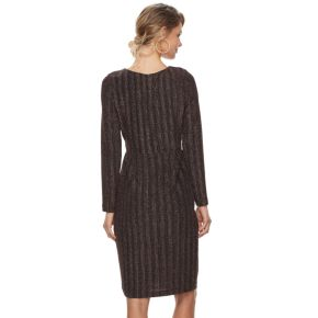 Petite Chaya Striped Faux-Wrap Dress