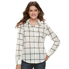 Women's Caribbean Joe Plaid Button Front Shirt