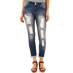 Juniors' Wallflower Luscious Ripped Embellished Ankle Jeans