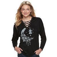Juniors' About A Girl Lace-up Moon Graphic Tee