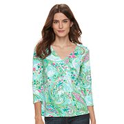 Women's Caribbean Joe Abstract 3/4 Sleeve Top