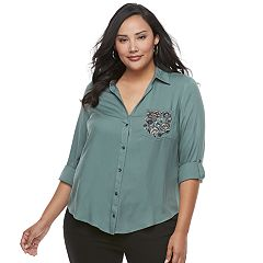 Plus Size Rock & Republic® Embellished Shirt