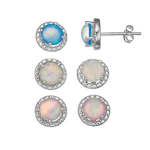 Sterling Silver Lab-Created Opal Stud Earring Set