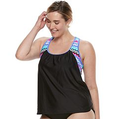 Plus Size ZeroXposur 2-in-1 Racerback Tankini Top