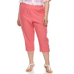 Plus Size Cathy Daniels Pull On Linen-Blend Capris