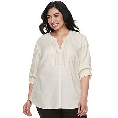 Plus Size Cathy Daniels Pintuck Linen-Blend Shir