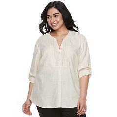 Plus Size Cathy Daniels Pintuck Linen-Blend Shir