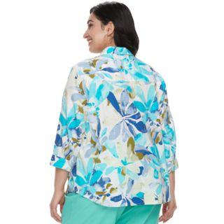Plus Size Cathy Daniels Floral Linen Blend Shirt