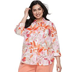 Plus Size Cathy Daniels Floral Linen Blend Shirt