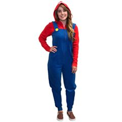 Juniors' Super Mario Fleece One-Piece Pajamas