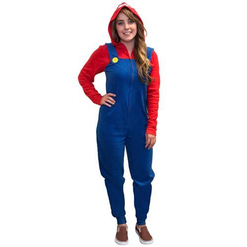 Juniors' Super Mario Fleece One-Piece Pajamas