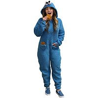 Juniors' Sesame Street Cookie Monster Costume One-Piece Pajamas