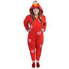 Juniors' Elmo Hooded One-Piece Pajamas