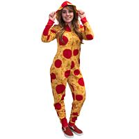 Juniors' Pizza Fleece One-Piece Pajamas