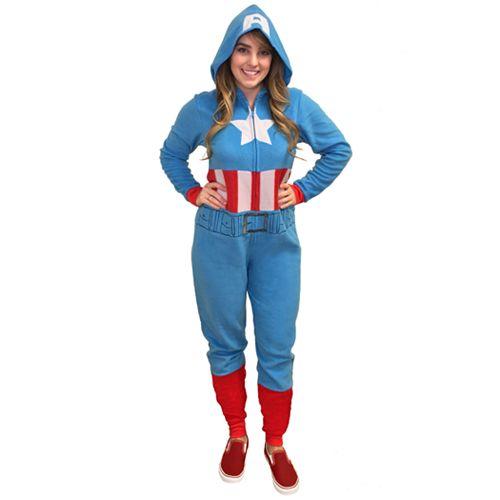 Juniors' Marvel Captain America One-Piece Pajamas