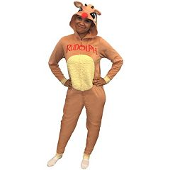 Juniors' Rudolph The Red-Nosed Reindeer Costume One-Piece Pajamas