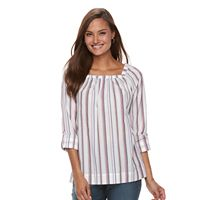 Women's Croft & Barrow® Shirred Squareneck Top