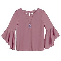 Girls 7-16 IZ Amy Byer Double Bell Sleeve Woven Top