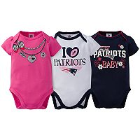 Baby New England Patriots 3-Pack Love Bodysuit Set