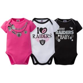 Baby Oakland Raiders 3-Pack Love Bodysuit Set
