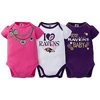 Baby Baltimore Ravens 3-Pack Love Bodysuit Set