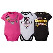 Baby Pittsburgh Steelers 3-Pack Love Bodysuit Set
