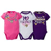 Baby Minnesota Vikings 3-Pack Love Bodysuit Set