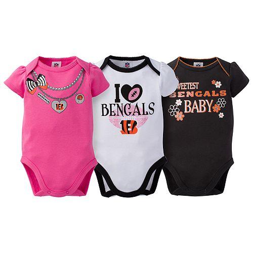Baby Cincinnati Bengals 3-Pack Love Bodysuit Set
